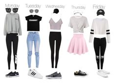 """Weekday outfits"" by audreyclement on Polyvore featuring Boohoo, NIKE, T By Alexander Wang, MANGO, adidas, Converse, Lacoste, Ray-Ban, Flexfit and Prada"