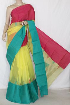 3D Yellow Red Sea Green Handwoven Bengali Tant Cotton Saree (Without Blouse) 14227