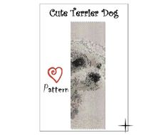 PDF Beaded PATTERN, Cute Terrier Dog 1-Drop, even count Peyote Cuff Bracelet.    INSTANT DOWNLOAD! The PDF format document will be sent to the