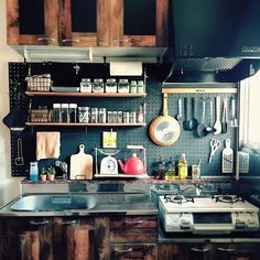 Kitchen with Barbecue: Projects and Photos - Home Fashion Trend Apartment Kitchen, Kitchen Interior, Kitchen Decor, Kitchen Design, Japanese Kitchen, Home Kitchens, Kitchen Remodel, Sweet Home, House Design