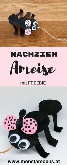 Ameise aus Papier, Basteln mit Papier, ant crafts, DIY ant, Nachziehtier basteln, paper crafts, summer crafts