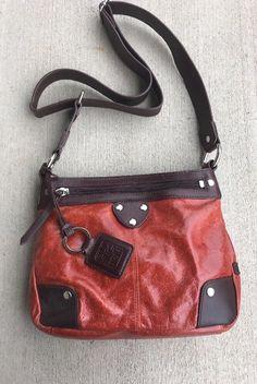 Ellington Orange Glossy   Brown Leather Crossbody With Hangtag Small Handbag a7702a1bf2d13