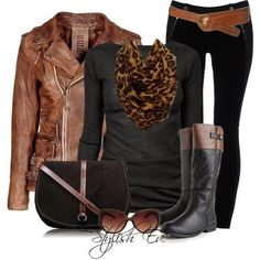 Fall Outfit With Distressed Leather Jacket and Leopard Scarf