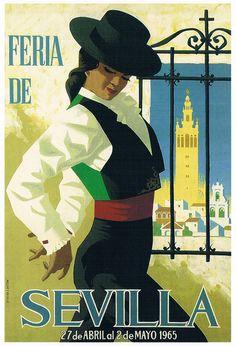 'Spain 1965 Seville April Fair Poster' T-Shirt by retrographics