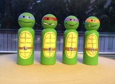 Teenage Mutant Ninja Turtles hand painted wooden peg doll toys Michaelangelo, Donatello, Raphael, and Leonardo *Perfect for Easter Baskets