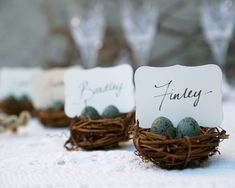 Gorgeous little place setting of mini birds nests - perfect for a forest wedding! Why not use chocolate eggs for your guests to nibble on?