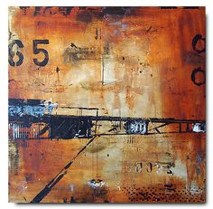 Industrial Bridge . Brian Elston / 30 x 30 mixed media on canvas