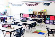 Astrobrights Classroom Makeover for first grade teacher Markeda Brown