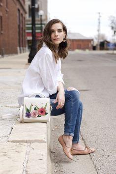 Floral top handle purse. Vendula London English Garden Grab Bag