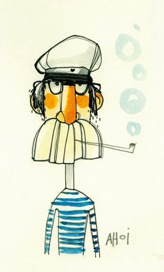 Illustration of a sailor with a big mustache Character Illustration, Graphic Illustration, Sailor Illustration, Silkscreen, Photographie Portrait Inspiration, Illustrations Posters, Art Drawings, Character Design, 3d Character