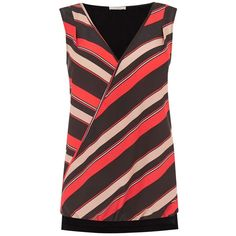 Oasis Diagonal Woven Front Top, Multi Red ($42) ❤ liked on Polyvore featuring tops, red sleeveless top, sleeveless tops, red striped top, striped top and stripe top
