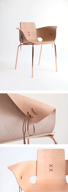 Shoemaker Chair, leather and copper, Martín Azúa design | http://www.martinazua.com/product/shoemaker-chair/