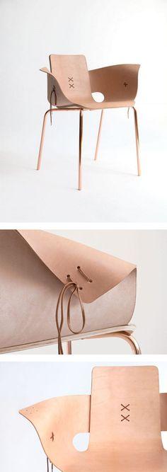 Shoemaker Chair, leather and copper, Martín Azúa design | http://www.martinazua.com/product/shoemaker-chair/