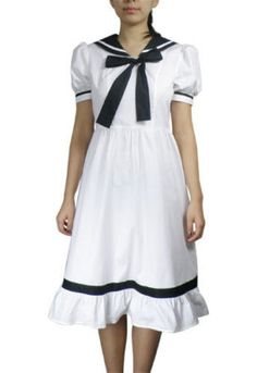 NEW CUTE WHITE VINTAGE STYLE BOW KNOT SAILOR DRESS