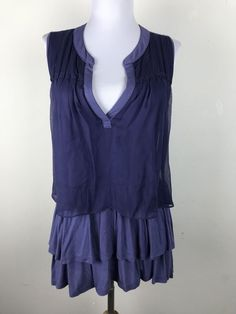 Clu + Willoughby Blouse Size S Purple Chiffon Layered Rayon Anthropologie #Anthropologie #Blouse