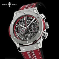 Officially it's the Hublot Classic Fusion Aero Chronograph in titanium, but the red leather strap with raised white seam gives the game away- the new Cricket Watch by @hublot live now at our homepage ️The perfect watch to bowl a maiden over (*ahem*