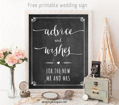chalkboard wedding sign free printable