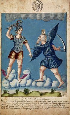 Mercure tente d'arrêter le cours du temps, représenté par Saturne Nicolas Flamel (1330 ?-1418), Le Livre d'Abraham le Juif XVIIe siècle. Man...