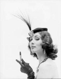 Suzy Parker for Revlon Lanolite Lipstick, 1955. Photos by Dan Wynn.  Had the egret feather!