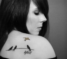 bird on a branch tattoo | The yellow bird imagery is obviously off I'm Wide Awake. The birds ...