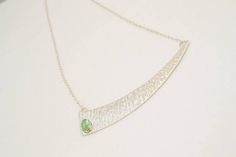 Handmade Sterling Silver Necklace with Tourmaline  Hammered