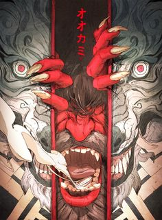 Chun Lo is an illustrator and concept artist based in Florida interested by fantasy oriented illustrations and creatures design. His recent illustrations uses Kanji, japanese character, to describe and empowered the image. Anime Pokemon, Japon Illustration, Wolf Illustration, Illustration Fashion, Creative Illustration, Illustration Artists, Fashion Illustrations, Arte Obscura, Art Asiatique