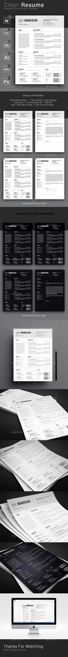 Clean Resume / CV Template PSD, Vector EPS, InDesign INDD, AI Illustrator, MS Word #modernresume #simple #coverletter