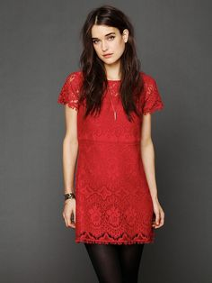 Red dress for February 1st, @American Heart Association #GoRedForWomen! @Free People Straight Laced Shift Dress