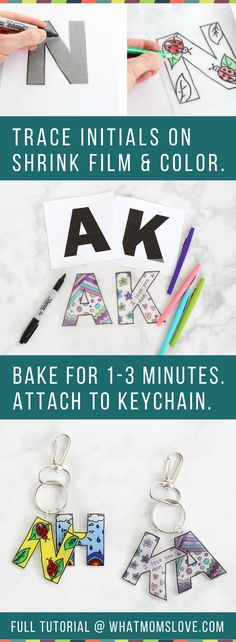 This easy to make Mother's Day or Father's Day craft for kids is the perfect homemade keepsake to give to mom, dad, grandma or grandpa. Use Shrinky Dinks to create a DIY initial and headshot keychain - they're simple to make but totally unique. Mothers Day Crafts For Kids, Fathers Day Crafts, Crafts For Teens, Diy For Kids, Kids Crafts, Easy Crafts, Birthday Presents For Grandma, Diy Gifts For Grandma, Diy Christmas Gifts For Dad