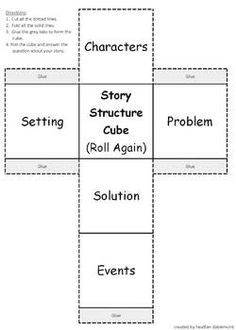 Make learning about story structure fun with this story structure cube.  Simply print, cut, fold, and glue to create the cube.  Have students roll the cube and tell about the story element the cube lands on (characters, setting, problem, solution, or events).                                                                                                                                                                                 More