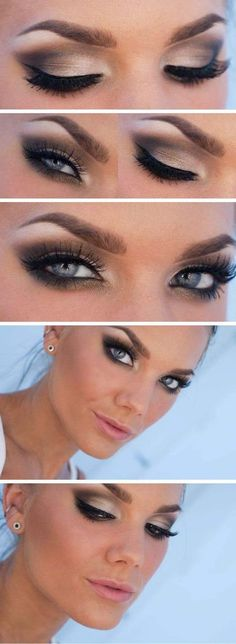 make-up linda hallberg golden black eye makeup eye makeups Wedding Makeup For Blue Eyes, Blue Eye Makeup, Skin Makeup, Makeup Brushes, Bridesmaid Makeup Blue Eyes, Makeup Remover, Cosmetic Brushes, Neutral Makeup, Cosmetic Bag