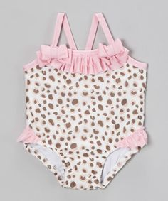 Love this Brown & Pink Leopard Ruffle One-Piece - Infant by Nannette Baby on #zulily! #zulilyfinds