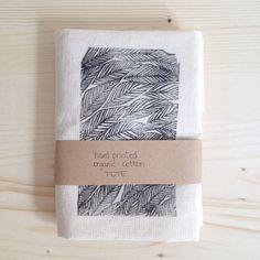 Hand Printed Cotton Tote Minimalist EcoFriendly by mipluseddesign