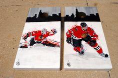 Corey Crawford and Jonathon Toews hand painted Custom bag set