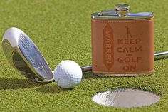 """Personalized Golfer Flask """"Keep Calm and Golf on"""", Leather Flask, Fathers Day, Custom Engraved Flask, Golf Gift by SinCityEngraving on Etsy"""