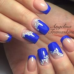 Hey there lovers of nail art! In this post we are going to share with you some Magnificent Nail Art Designs that are going to catch your eye and that you will want to copy for sure. Nail art is gaining more… Read French Nail Designs, Cute Nail Designs, Acrylic Nail Designs, Acrylic Nails, French Manicure With Design, Blue Nails With Design, Blue Design, Hair And Nails, My Nails