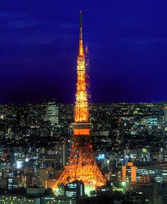 Tokyo Tower is a famous Japanese and Tokyo icon and landmark made famous through many Japanese films and anime.