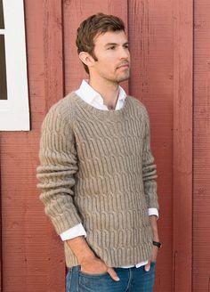 Men's hand knit crewneck Sweater aran men hand knitted