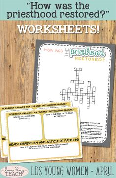 """LDS Young Women April: """"How was the priesthood restored?"""" Come, Follow Me lesson helps including printables, handouts, posters, worksheets, object lessons, activity ideas, teaching tips, and more! www.LovePrayTeach.com"""