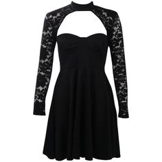 Boohoo Afua Choker Lace Detail Skater Dress | Boohoo ($35) ❤ liked on Polyvore featuring dresses, lace detail dress, skater dress and boohoo dresses