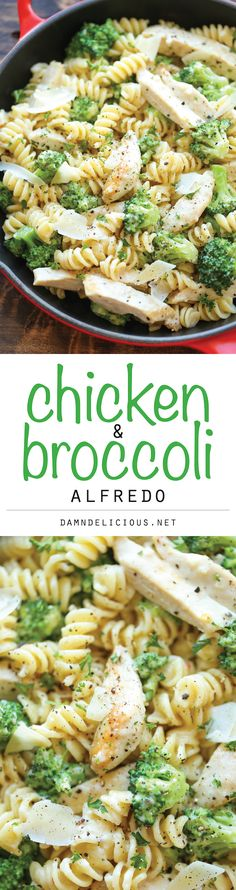 Chicken and Broccoli Alfredo - So easy, so creamy and just so simple to whip up in 30 minutes from start to finish - perfect for those busy weeknights! (easy healthy meals for kids) Pasta Recipes, Chicken Recipes, Dinner Recipes, Cooking Recipes, Healthy Recipes, Broccoli Recipes, Califlower Recipes, Healthy Meals, Healthy Drinks