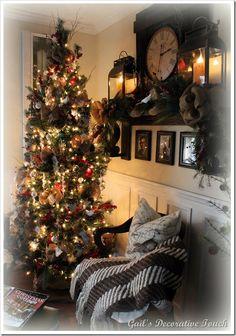 christma decor, christma tree, 005, burlap bows, christma mantel