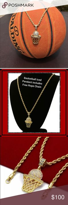 "Hip Hop Basketball Charm and chain CZ basketball charm with 24"" chain included. 14k Gold Plated.. Accessories Jewelry"