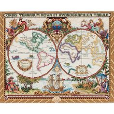 <li>Add the perfect touch to your home with a new needlework project<li>Cross stitch kit includes everything you need to create a beautiful decoration for your home <li>Inspiring cross stitch pattern portrays magnificent olde world map