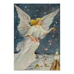Shop Vintage Christmas Victorian Angel with Stars Roses Holiday Postcard created by ChristmasCafe. Personalize it with photos & text or purchase as is! Victorian Angels, Victorian Christmas, Vintage Christmas, Illustrations Vintage, Creation Photo, I Believe In Angels, Angel Pictures, Christmas Angels, Christmas Cards