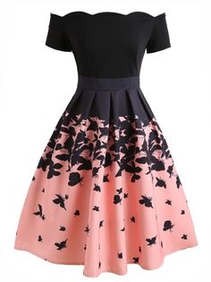 Vintage Dresses Butterflies Printed Off Shoulder Retro Dress - BLACK Cute Prom Dresses, Elegant Dresses, Pretty Dresses, Beautiful Dresses, Dance Dresses, Short Dresses, Floral Dresses, Dress Prom, Cheap Dresses
