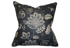 Avalon 22x22 Linen Pillow, Navy