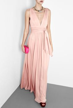 V-neck silk gown.  Wouldn't mind the under-bust wrapping, as long as it is nice and wide...