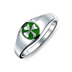 Bling Jewelry Sterling Silver And Green Enamel Shamrock Ring *** Details can be found by clicking on the image.(This is an Amazon affiliate link)