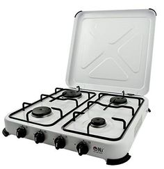 Outdoor Camping Gas Stove 4 Burner Portable Hob White Enamel Lid Picnic Cooking